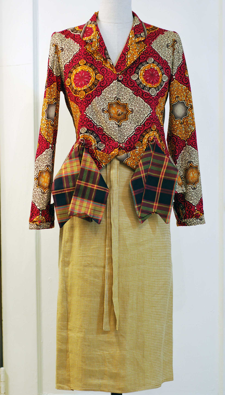 Wax-print Cotton Raj jacket and linen wrap skirt- SOLD