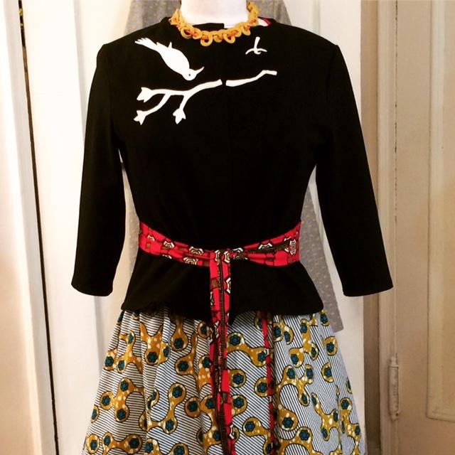 Ponté knit bird cardi over wax-print wrap dress -  sold - can be custom ordered