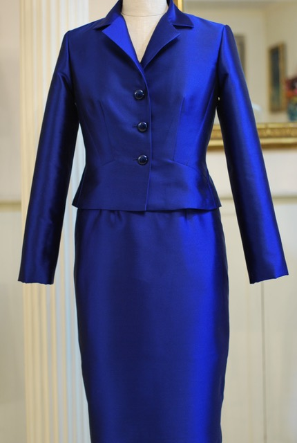 Blue silk and wool cocktail suit - sold - Special Order - contact me on contact page for details