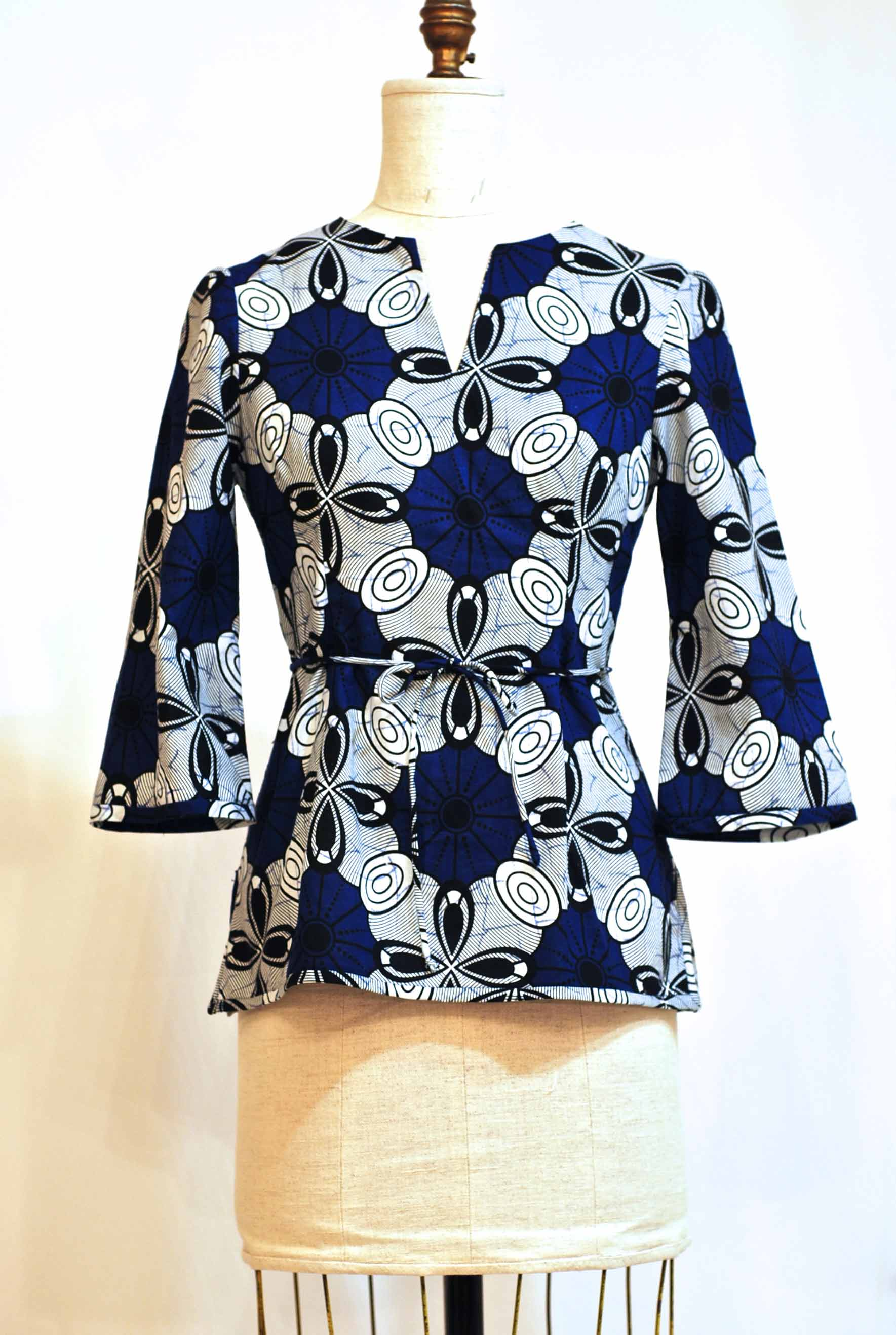 Blue / white Tunic - sz 6 - Bust 34 waist 28 - was $285. now $175.  100% Cotton - Machine Washable - sold