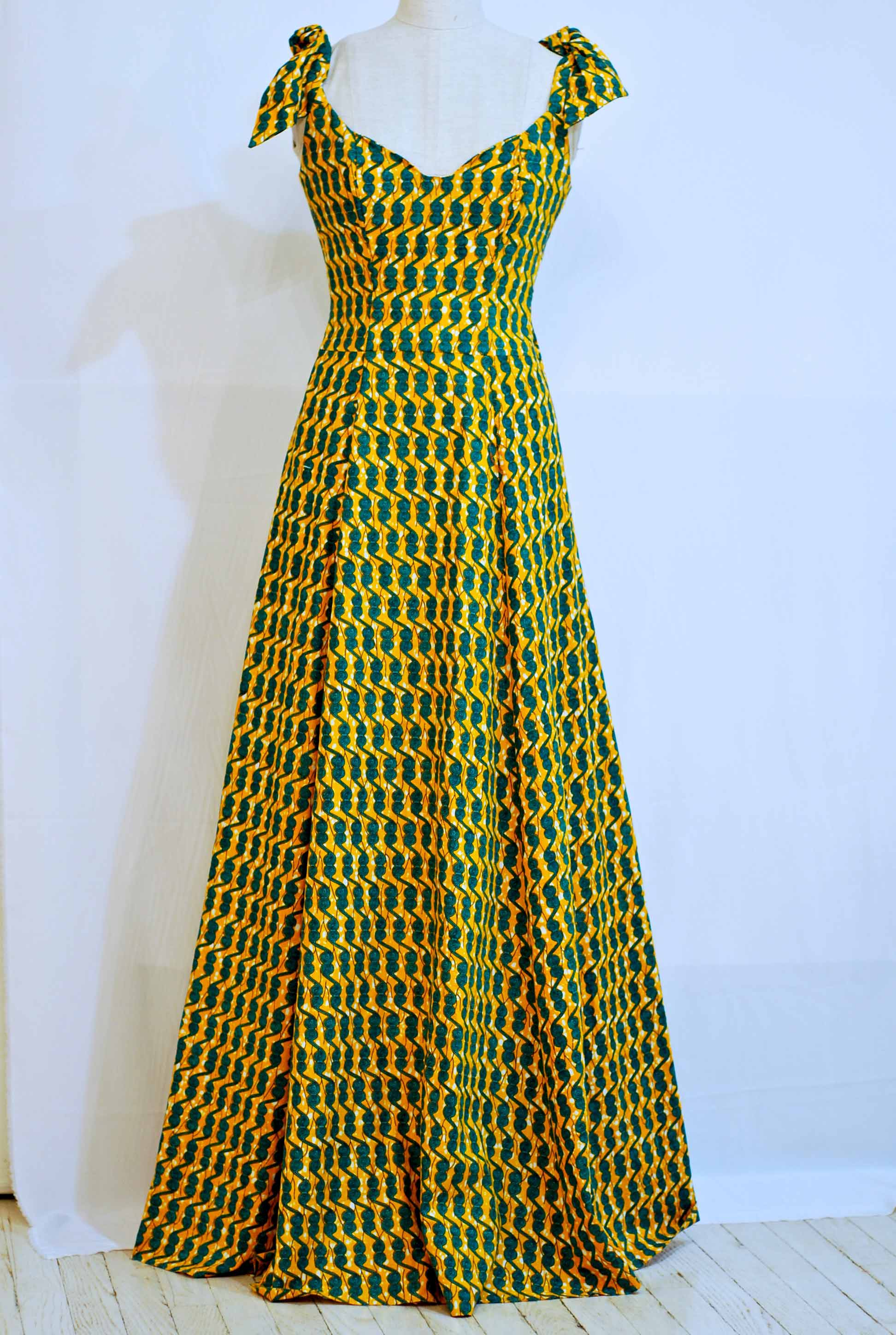 "Long Yellow/Green Bow Dress - sz 6 - 35"" Bust 28"" waist - was $675. now $475.  100% Cotton - sold"
