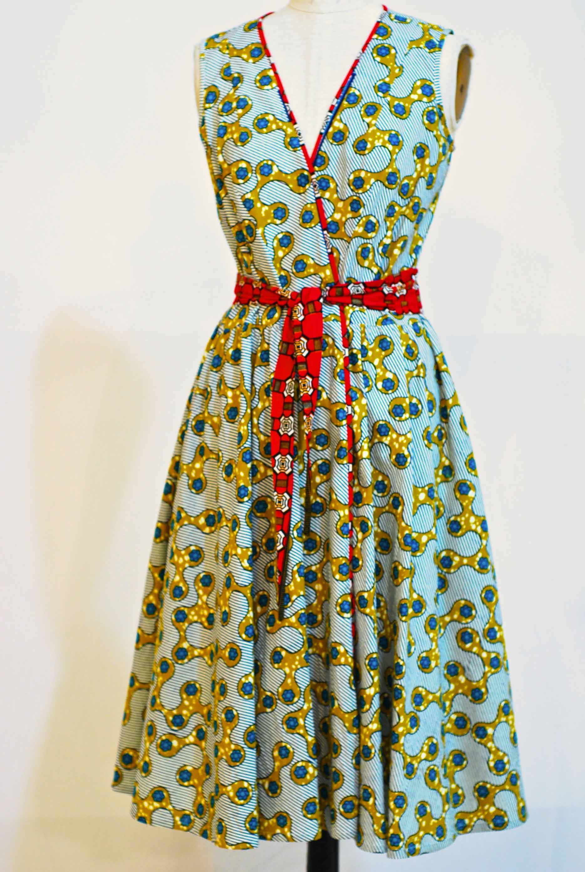 "Spinner Wrap Dress - sz 10 - waist adjustable up to 33"" Bust 38"" was $475. now $325.  100% Cotton machine washable - SOLD"