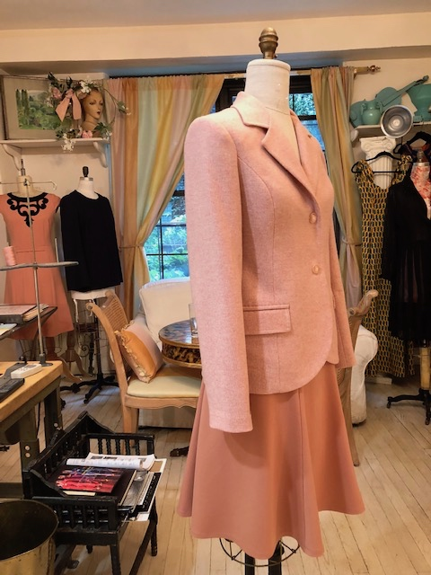 Pink tweed jacket with Ponté knit skirt for client