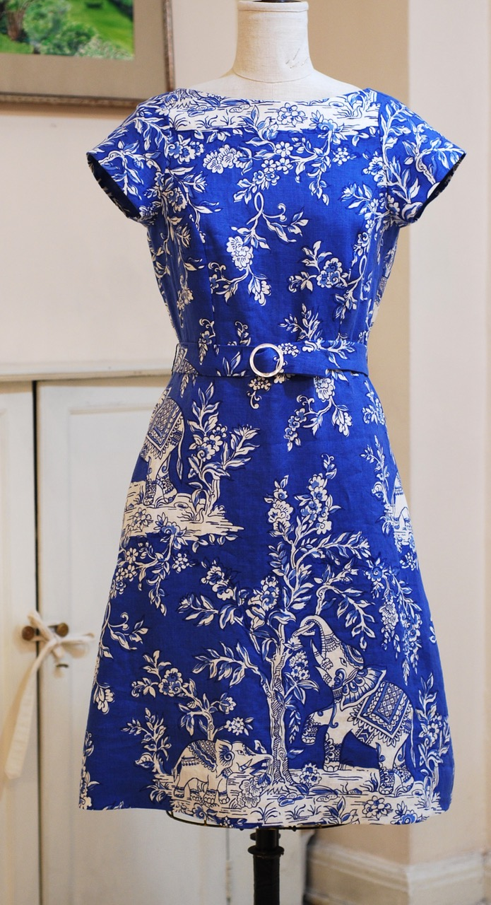 Lucky Ganesh Dress, Clarence House  linen, half belt, size 12, on sale $650. from $875.