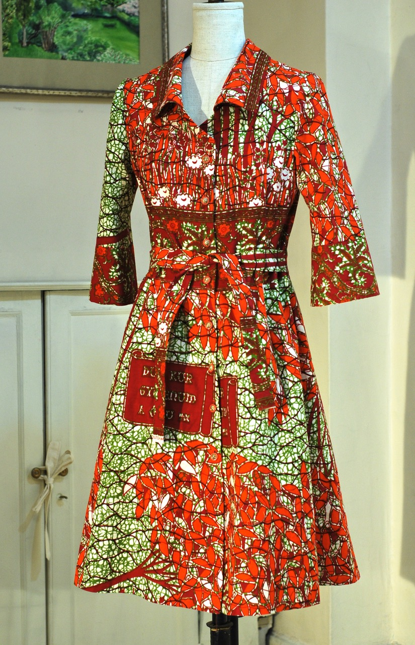 button tie front dress- Cotton wax-print,  sold , remake special order