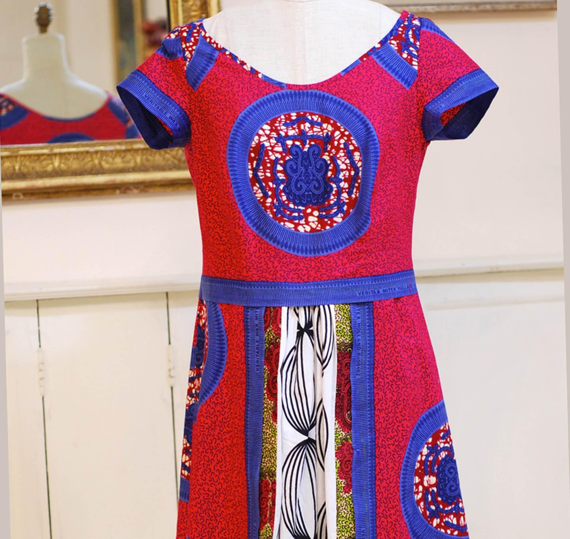 Marrekech Dress  - multi cotton dutch wax African Prints