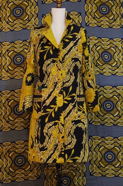 Indian Kantha quilt made into a Frock coat