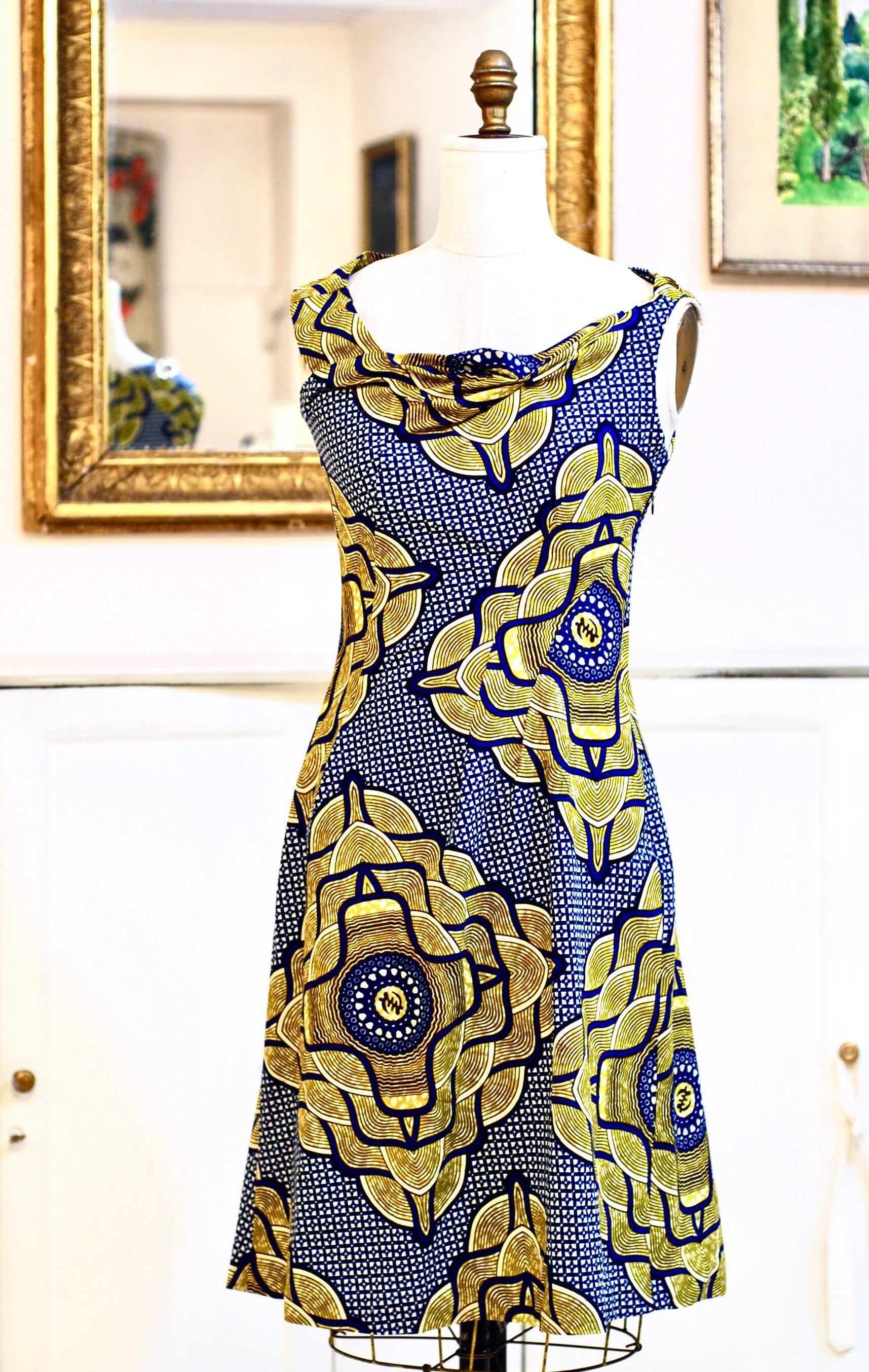 Draped cotton wax -print dress