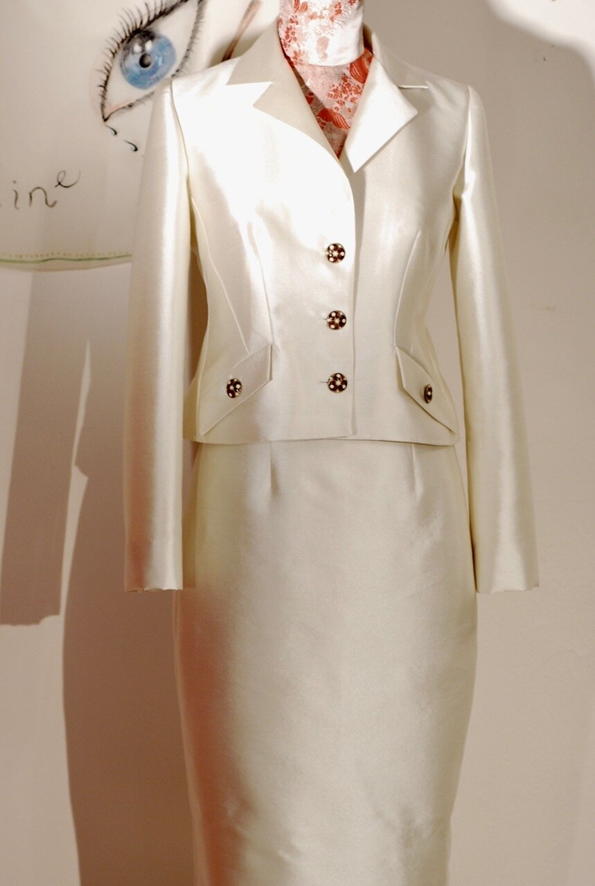 pearl silk and wool suit w/ cloisonné buttons