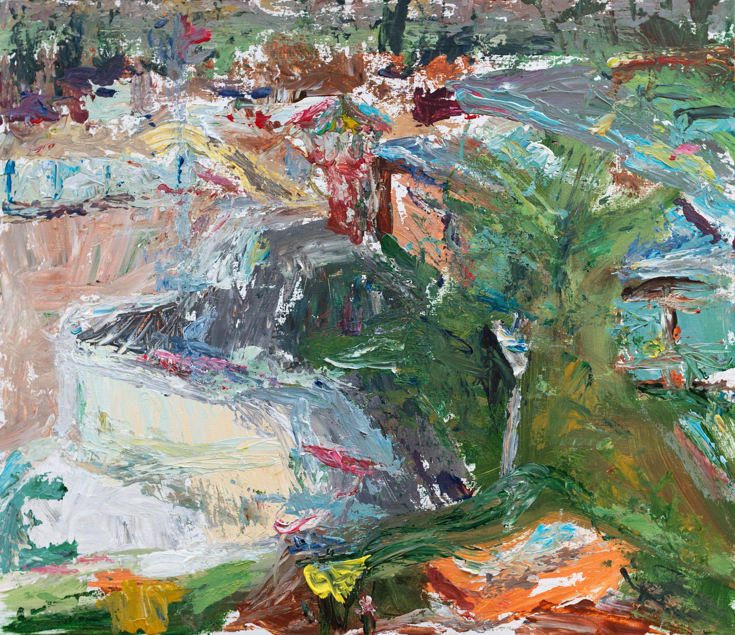 Uitzicht vanuit atelier op Papiermolenzwembad I