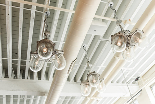 Silver pendant light clusters draw the eye at this high end establishment