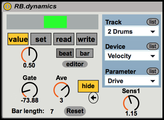 Screenshot of RB.dynamics device cropped after the first track