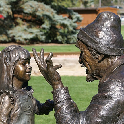 Grandpa the Storyteller, by Sculptor Victor Issa, from City of Loveland