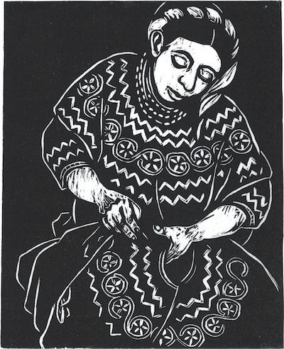 La Bordadora, relief print by Marilyn Anderson.