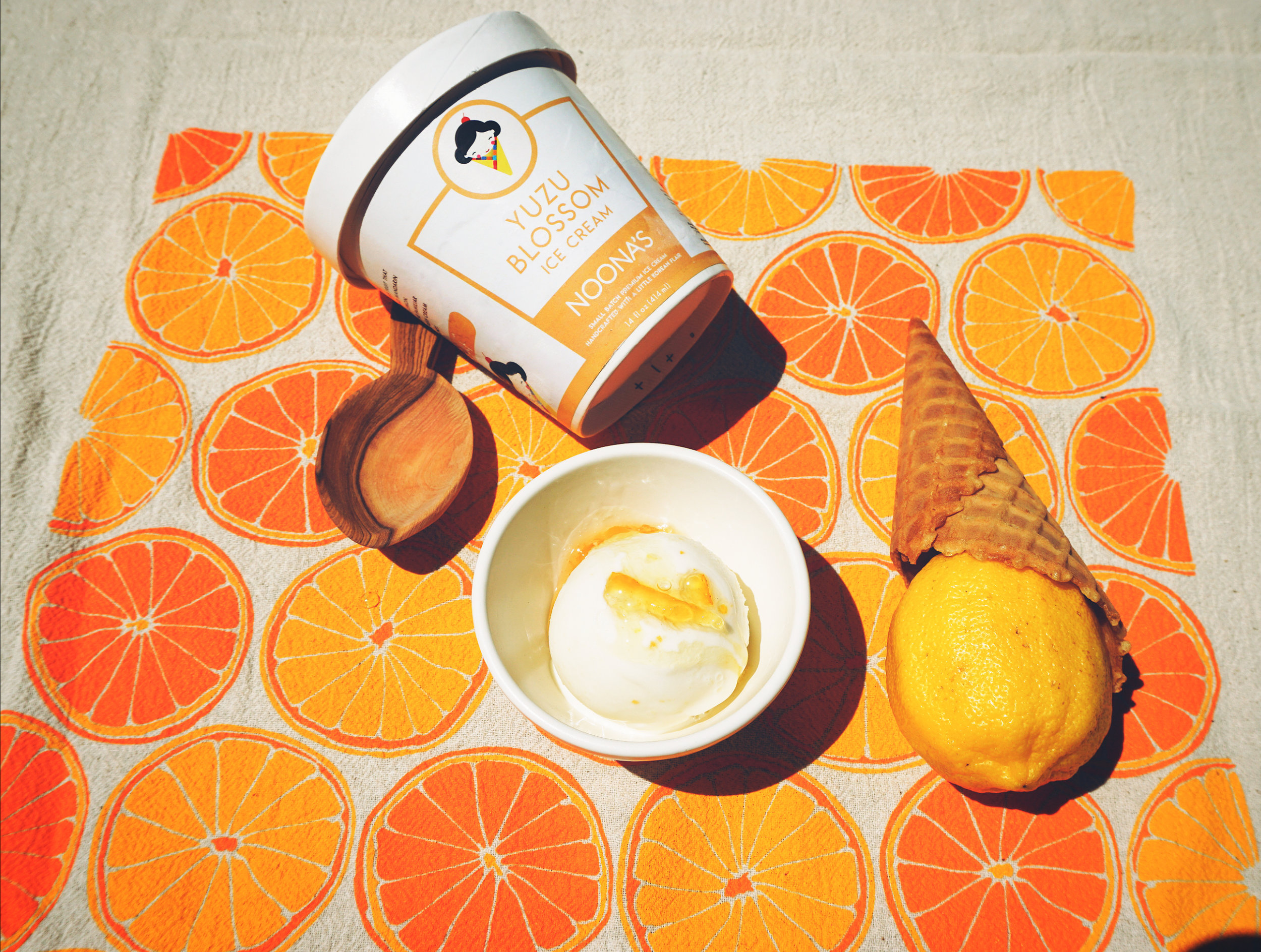 yuzu blossom ice cream - Tart and aromatic, yuzu is an Asian citrus fruit that closely resembles that of a grapefruit and mandarin orange with undertones of meyer lemon. Our Yuzu Blossom ice cream blends the familiar sweetness of this beloved fruit with fresh cream and a touch of wildflower honey.