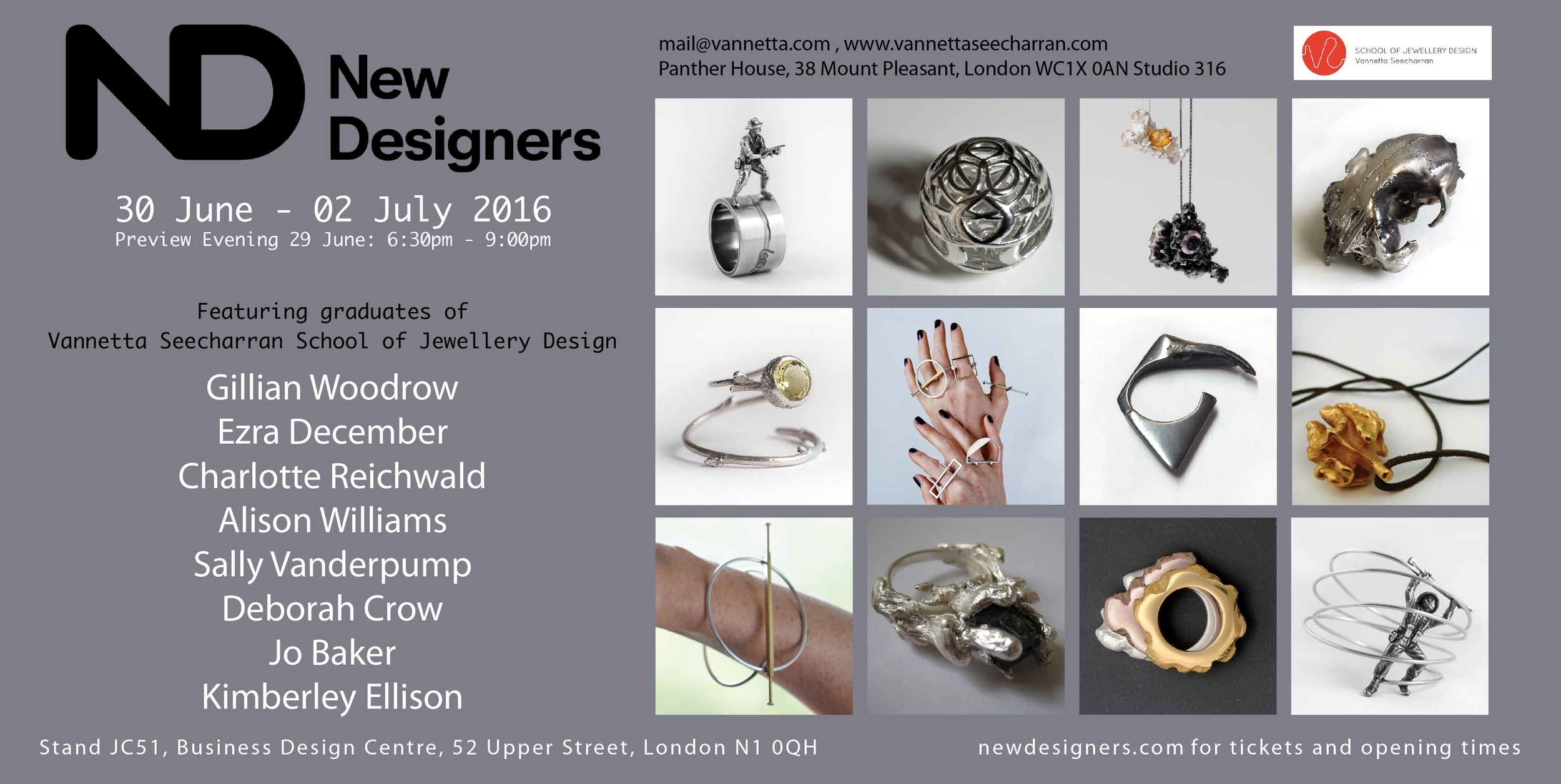 flyer invitation for New Designers 2016