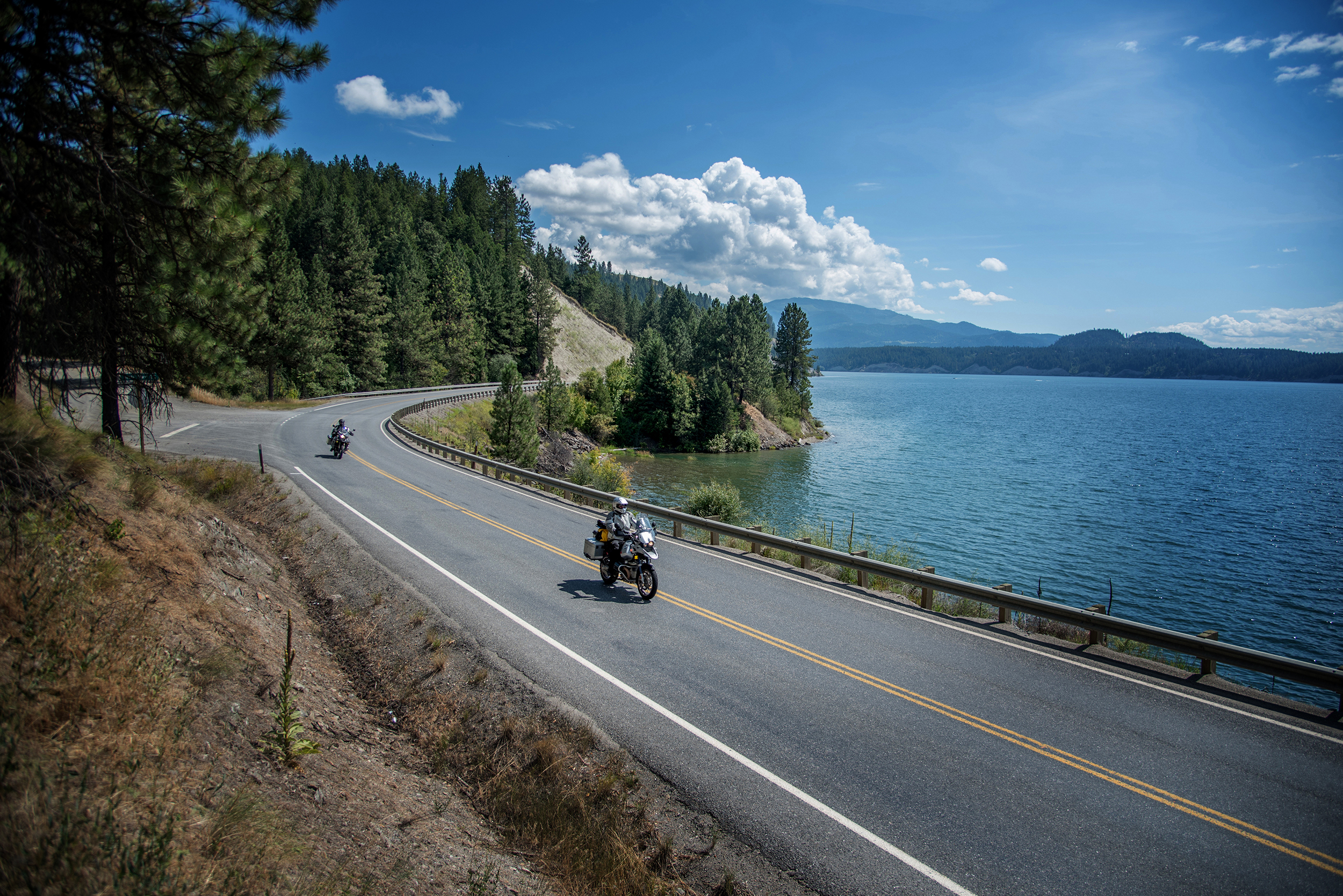 Once on the east side of the Columbia River, windy and twisty roads follow the river's edge towards the US/Canadian border