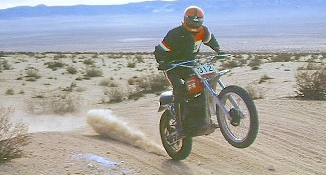 Mitch Mayes at speed across the California desert.
