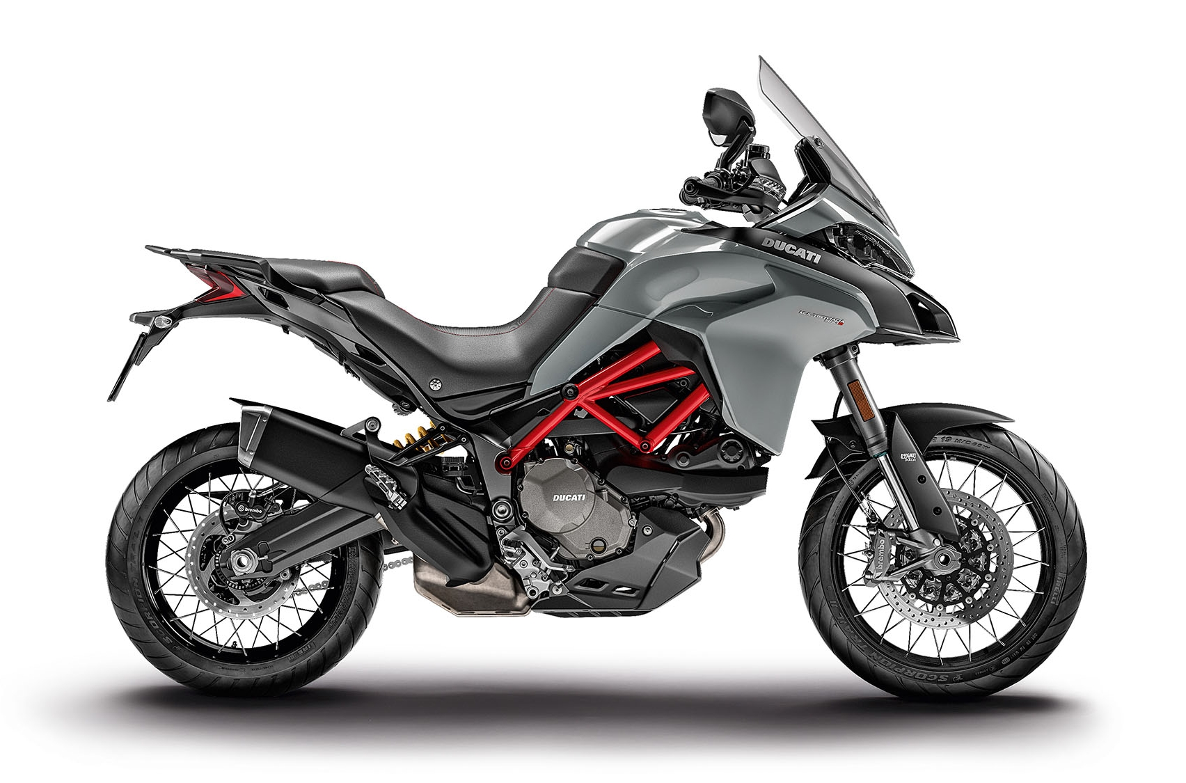 Multistrada 950 S Shown in Glossy Grey with tubeless wheels/tires