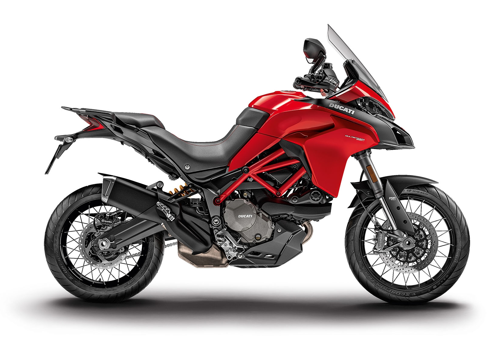 Multistrada 950 S Shown in Red with tubeless wheels/tires