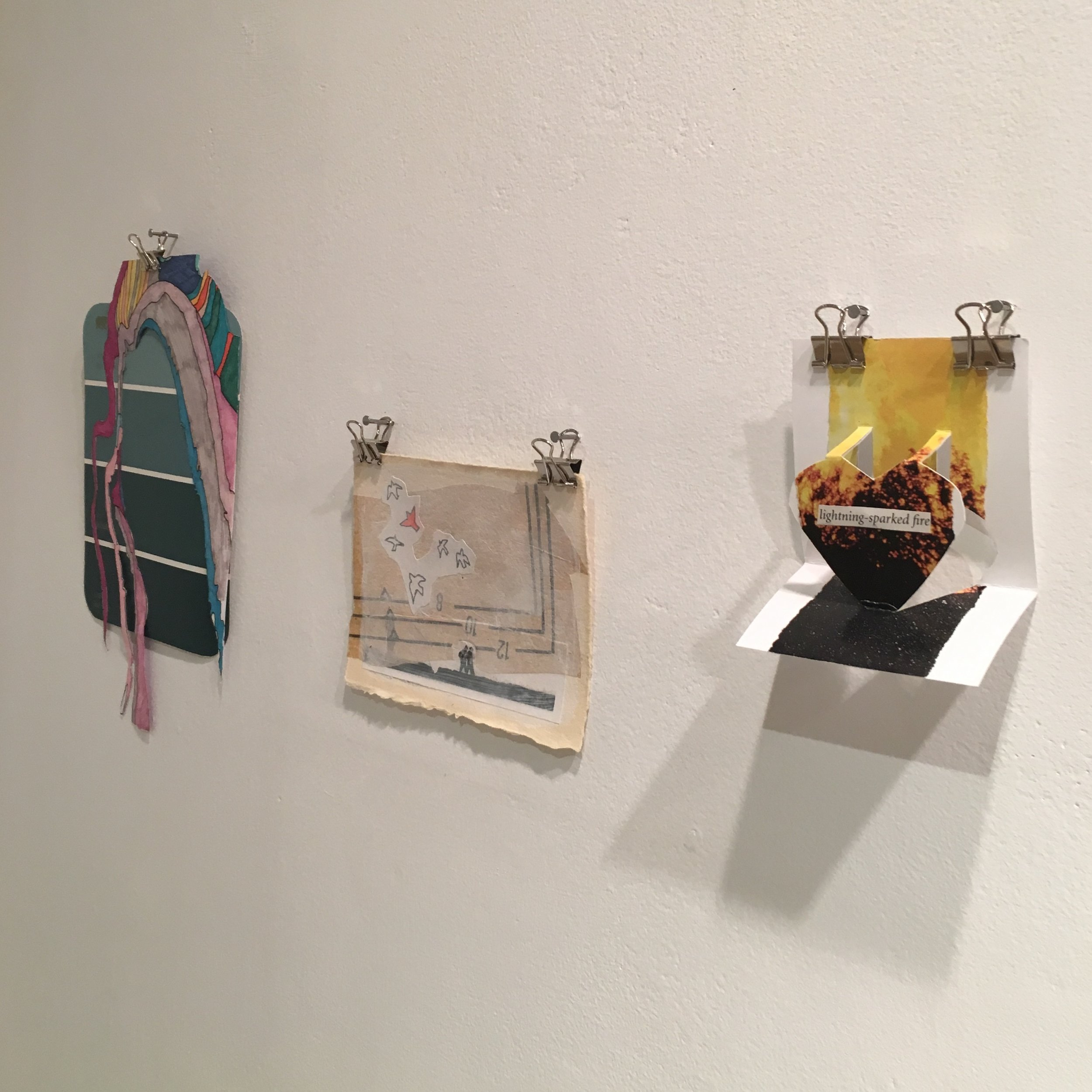 Postcard Project, install view: Postcard #1, Michelle Daly, 2016 Postcard #2, Shelley Chamberlin, 2016 Postcard #3, Shelley Chamberlin, 2016
