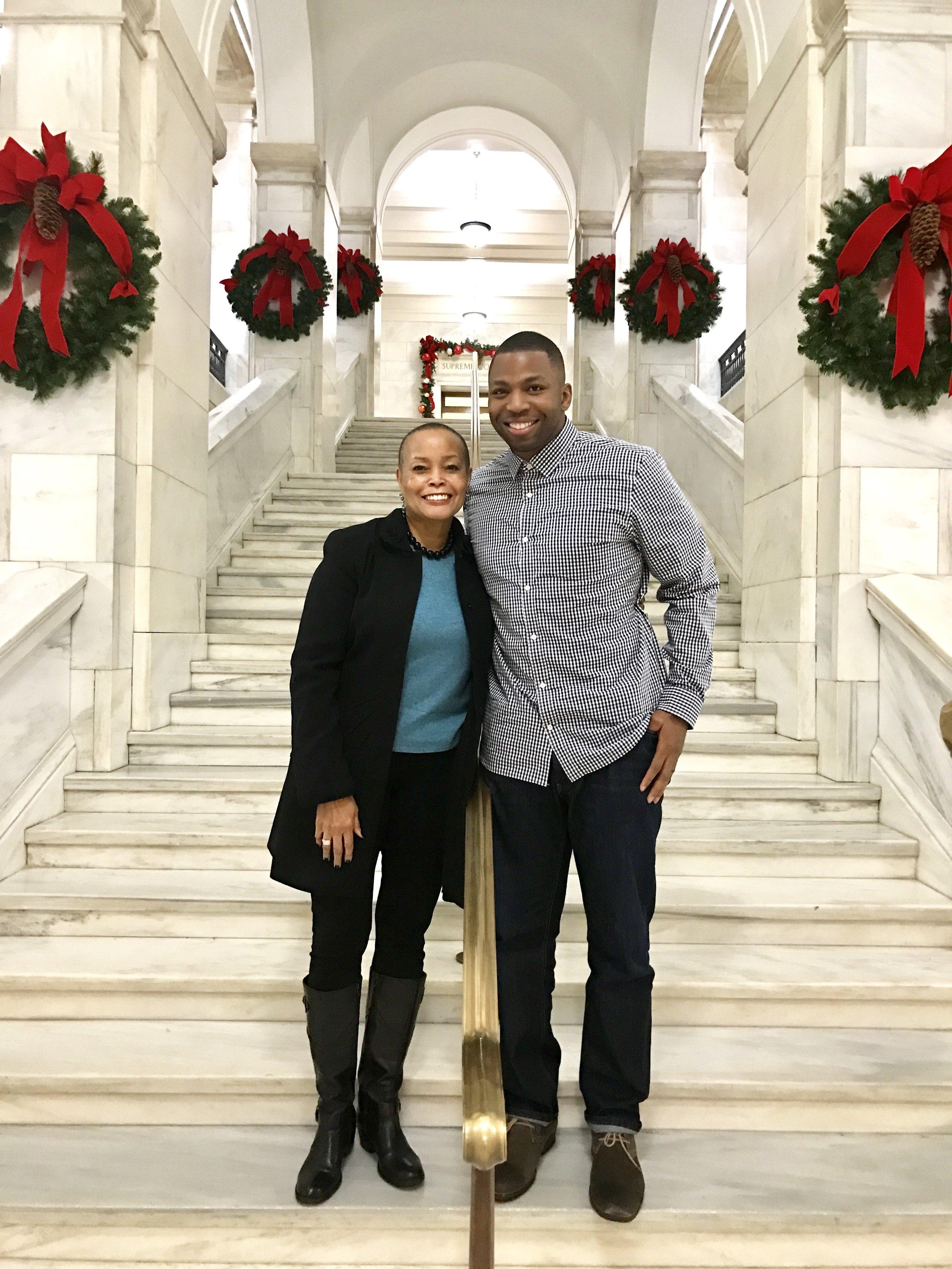 Turk McBride with State Senator Joyce Elliiott at the Arkansas State Capitol Building