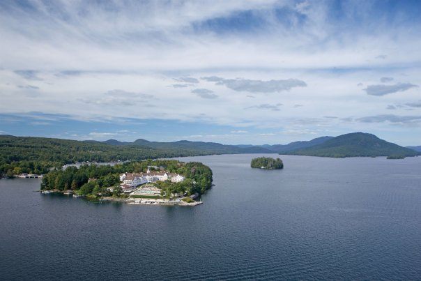 This photo, courtesy of The Sagamore Resort Facebook page, shows an aerial view of the resort, located on an island in Lake George, NY.