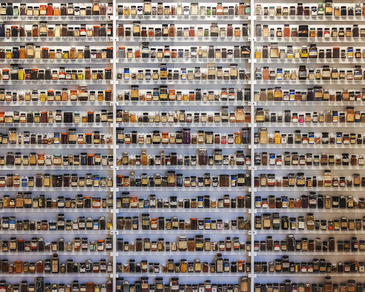 A wall of about 1700 techinicolor dyes on display at the George Eastman Museum