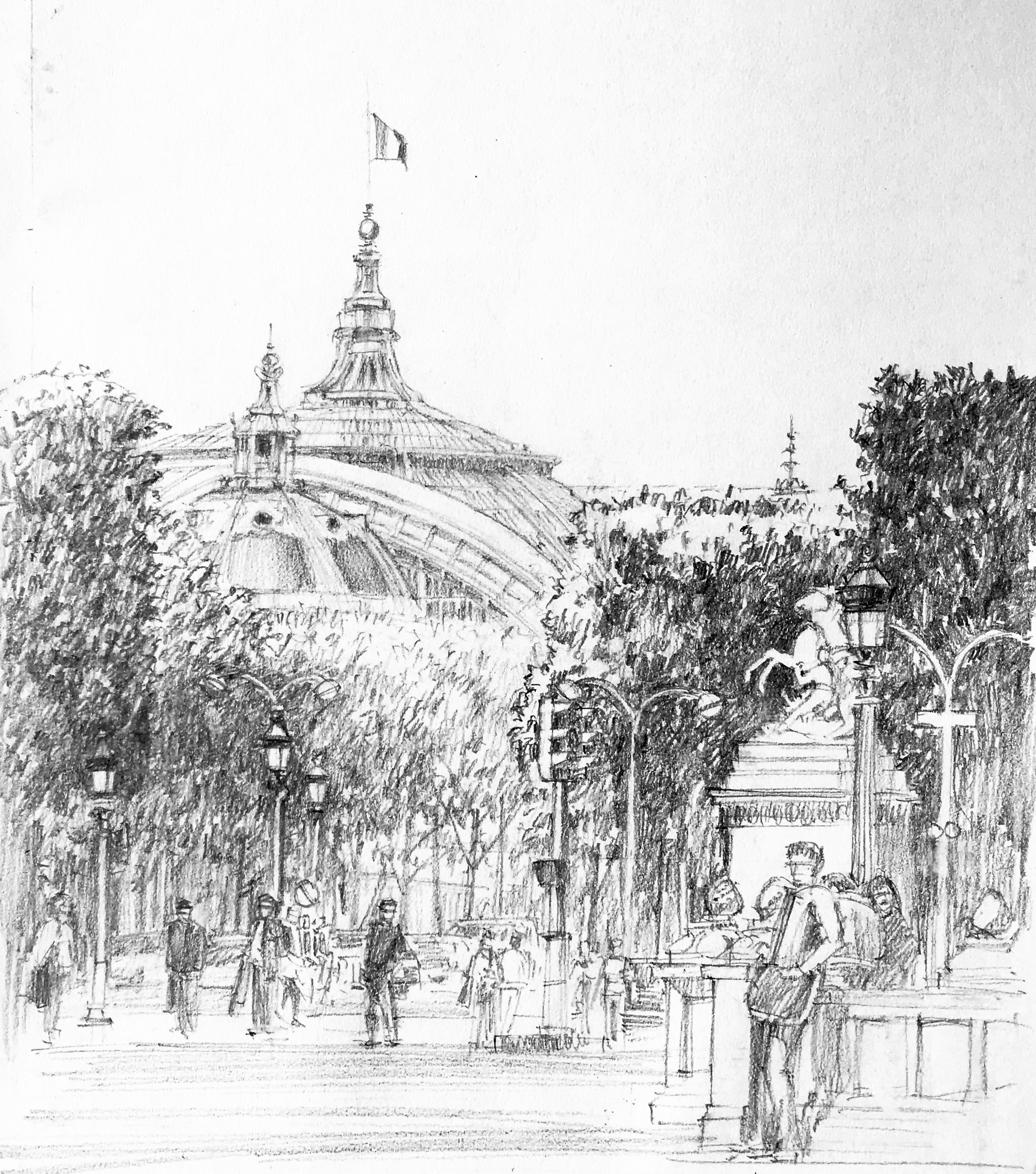 Grand Palais sketch with equestrian statue drawn by negative space.