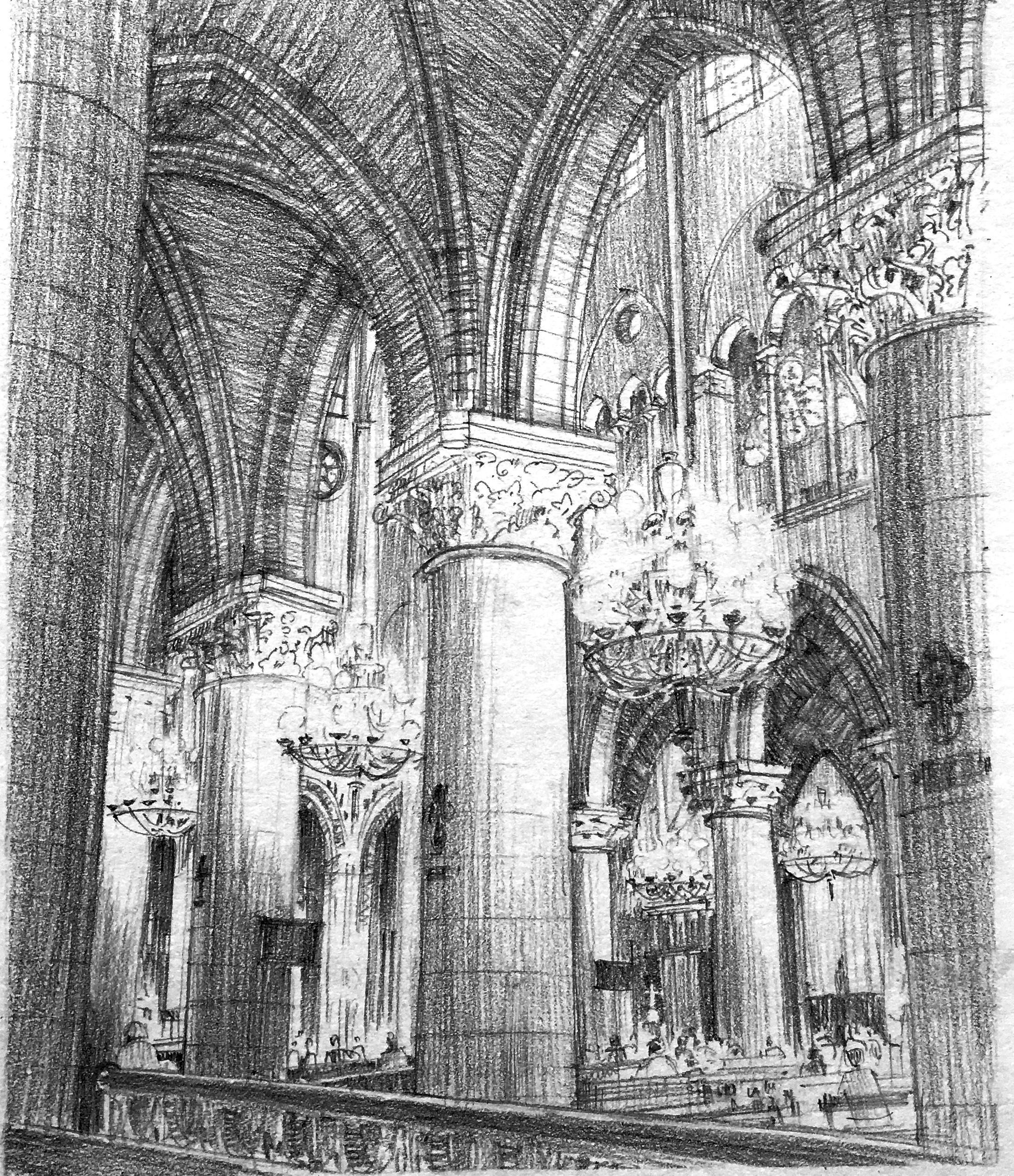 In this Notre Dame interior, the main light effect is across the middle of the drawing from the chandeliers, but there was also the secondary light source of the celestory windows high in the nave walls to consider.