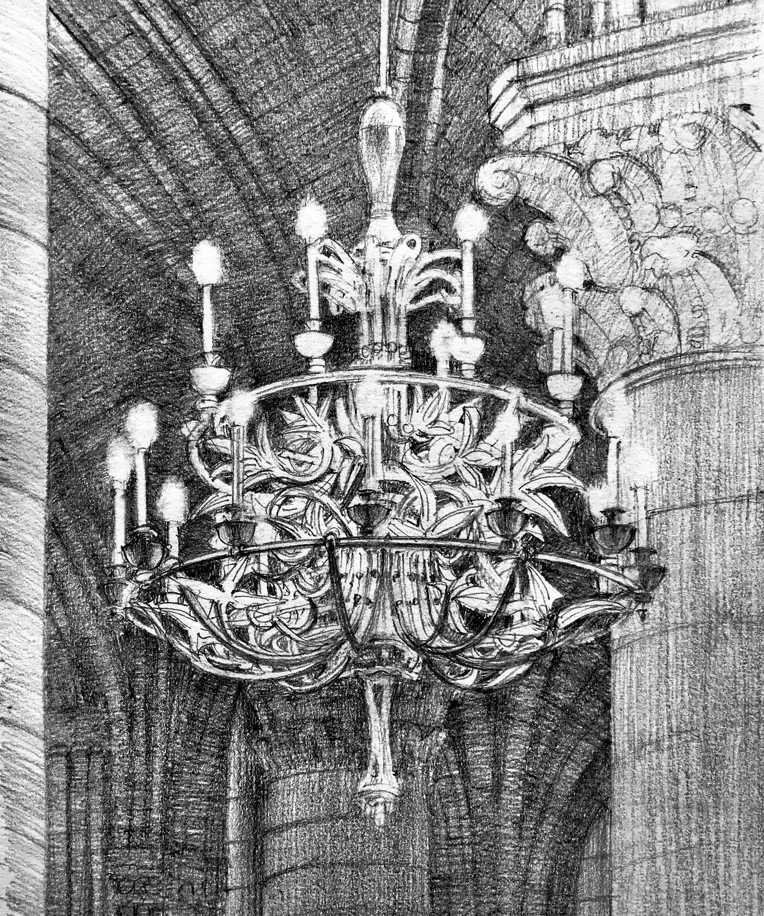 In this drawing of a chandelier in Notre Dame, I drew most of the chandelier by negative space (See Blog #2). Then I added the bracket lines into the spaces I'd created, starting with the closest.  Half the actual detail was left out, but the effect was satisfactory. Trying to draw the actual chandelier arms would have been impossible for me on the scale of this drawing.
