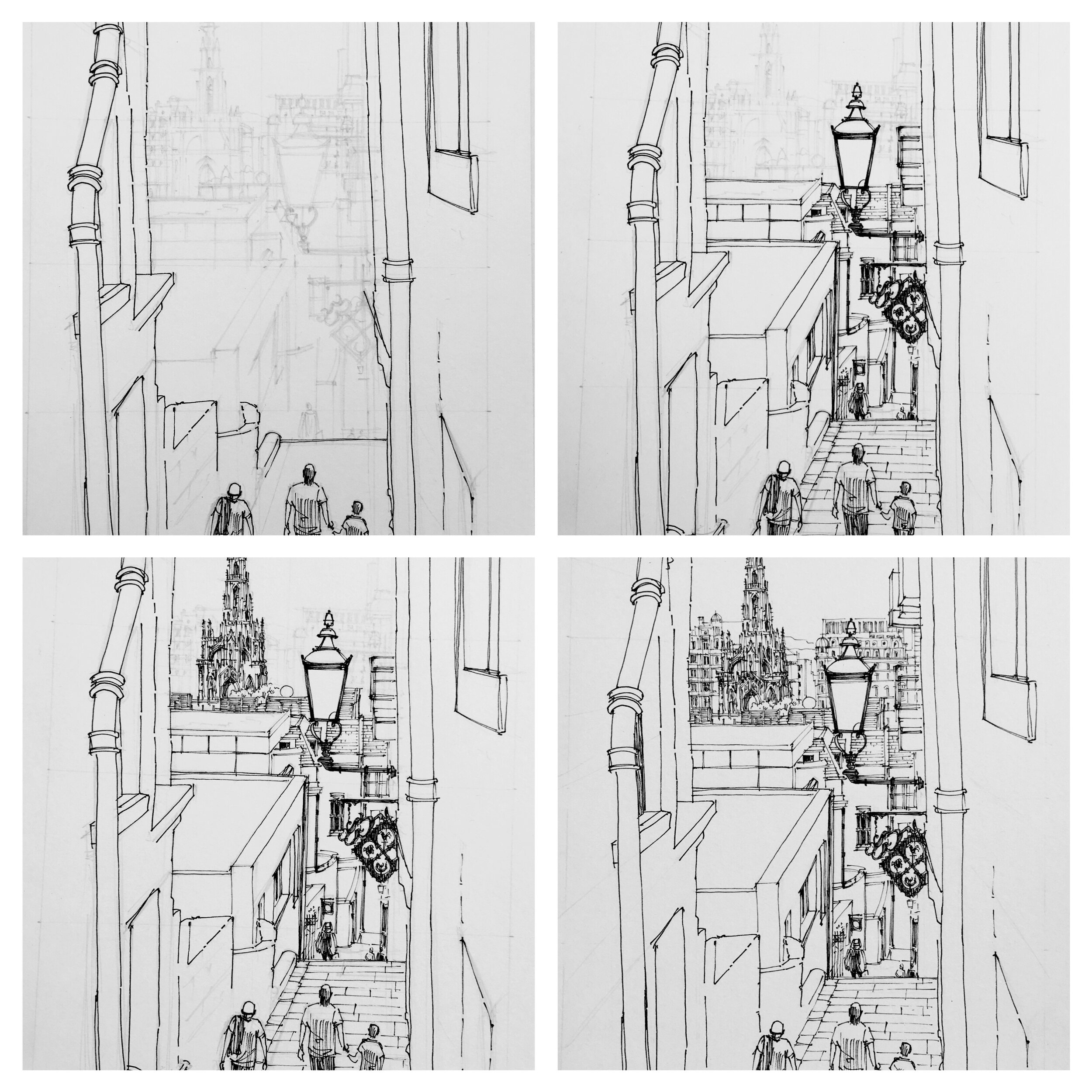 These four photos show the various stages of using a 0.3, 0.2, 0.1 and 0.05 fine liner in representing receding planes before the marker is applied.