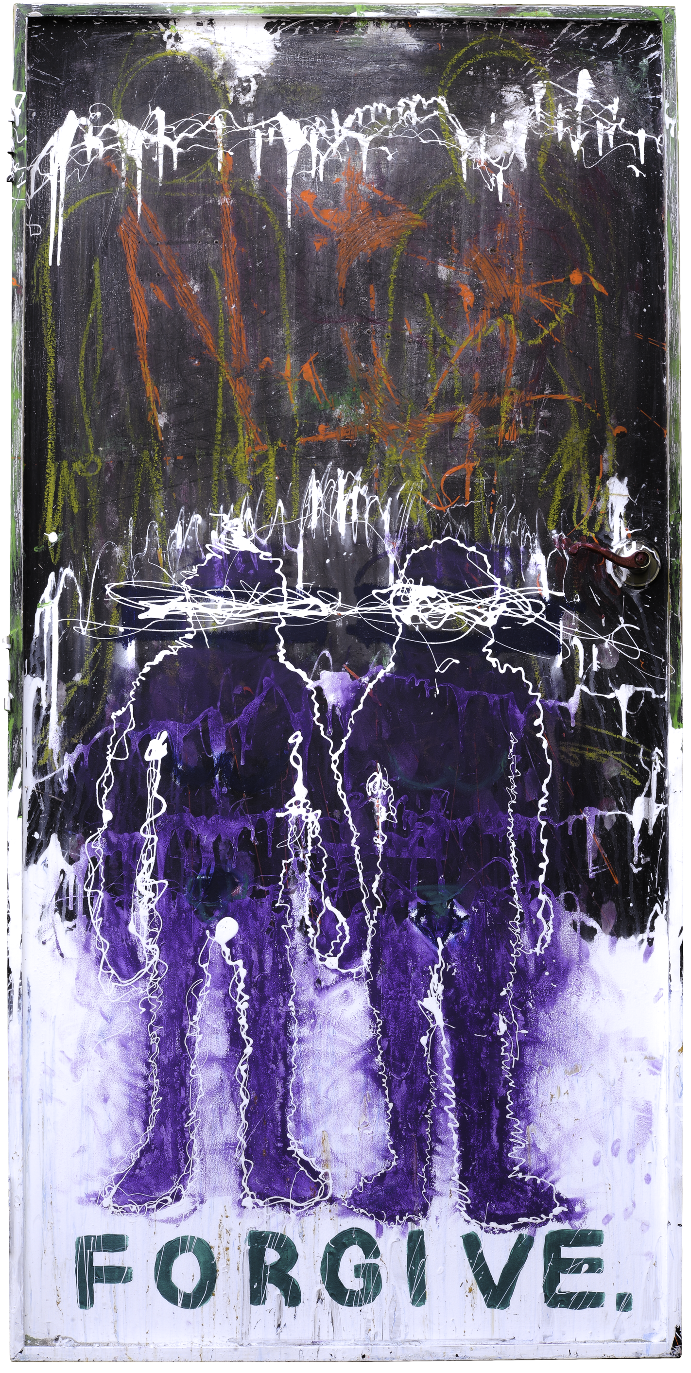 """"""" Forgive """" /   36""""x73"""" /acrylic, house paint on found door with hardware"""