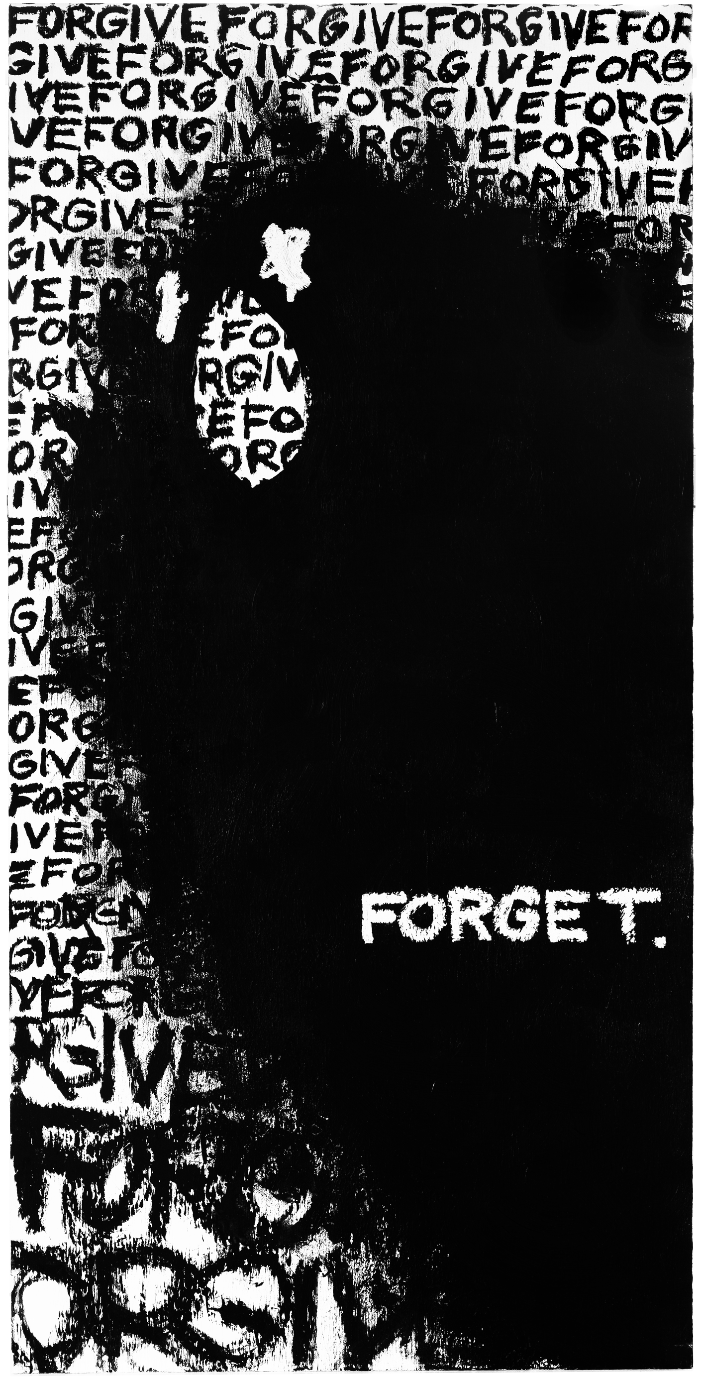 """"""" Forget """" / 24""""x48"""" / acrylic and oil bar on plywood"""