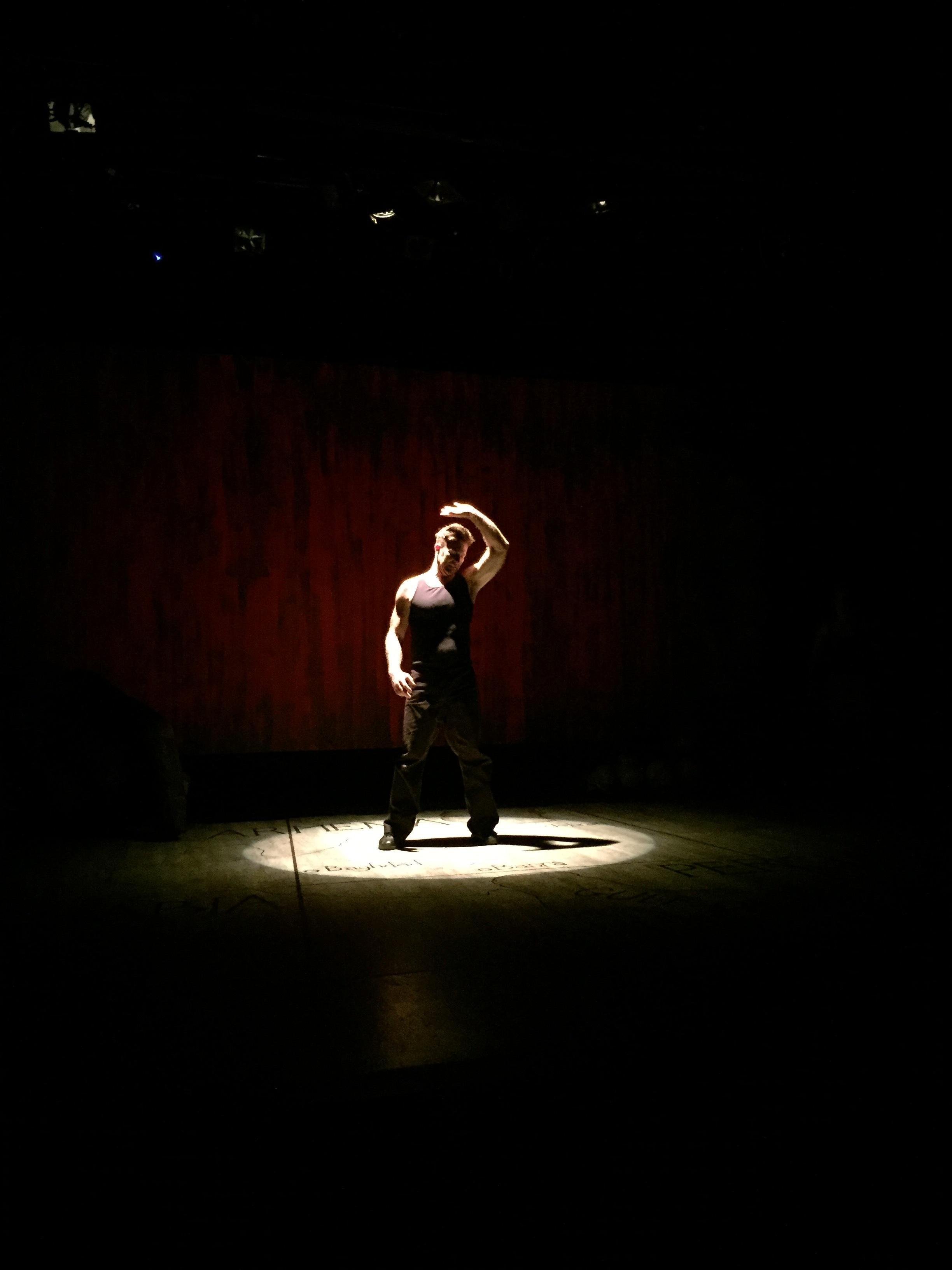 Aaron Hendry (Ajax) rehearses on-set