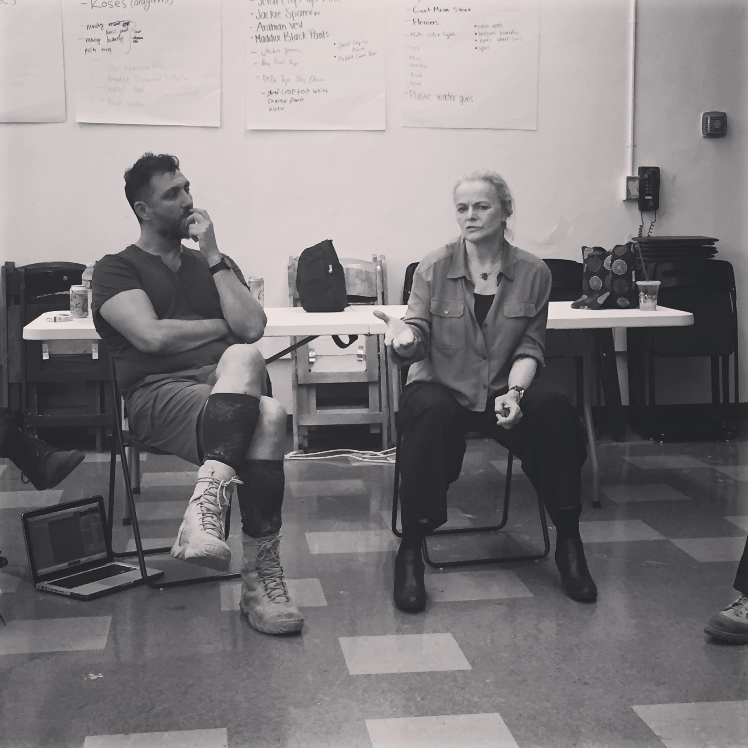 "In rehearsal with director John Farmanesh-Bocca and ""Ajax"" playwright, Ellen McLaughlin"