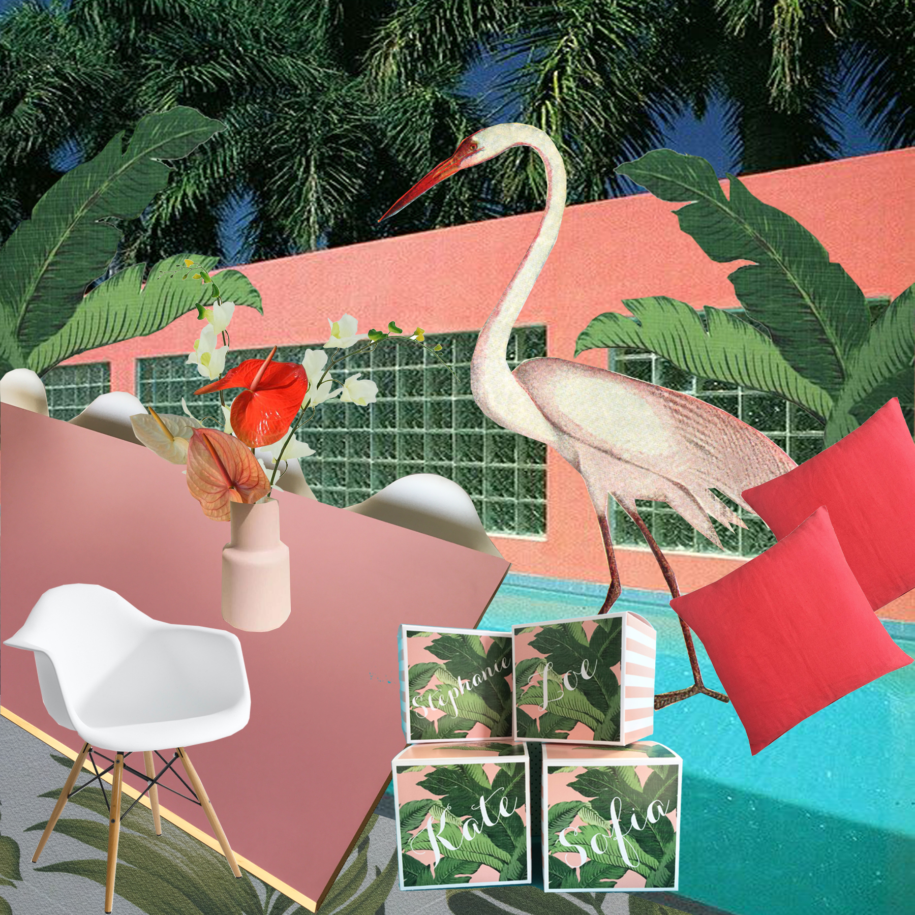 """This collage features the iconic """"Pink House"""" - Located in North Miami by Arquitectonica"""
