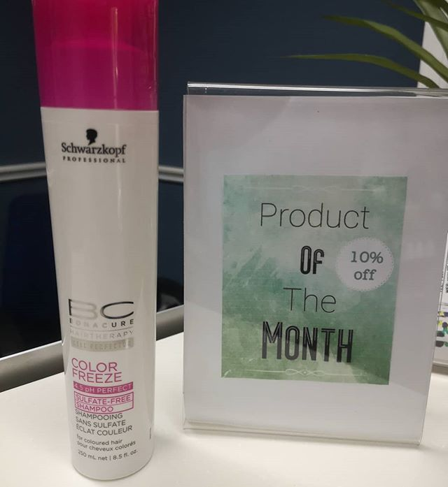 Get 10% off for the month of June!  BC Bonacure Hairtherapy Color Freeze Sulfate-Free Shampoo cleanses the hair and protects color treated hair from fading. Up to 90% color retention even after 30 shampoos. Schwarzkopf's Amino Cell Rebuild Technology restores the hair's elasticity and rebuilds the hair from the inside out. The end results make the hair full, vibrant with a healthy shine #salon101rocks #productofthemonth #schwarzkopf