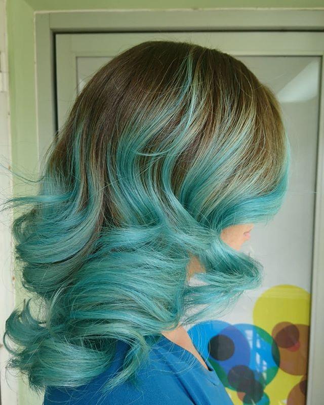 Mermaid hair vibes painted by Kristi! #mermaidhair #salon101rocks #colourfulhair