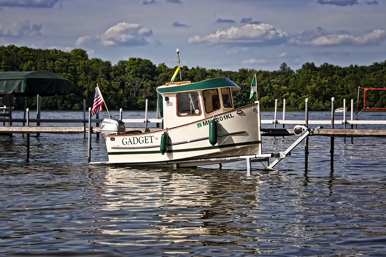 12' Deepwater Lift w/ 10' Hand Crafted Wood MicroTug Boat.
