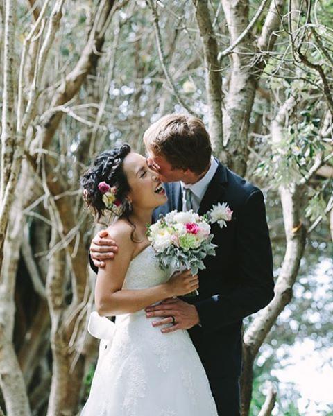 H i r o + S e b a s t i a n and one sweet butterfly kiss. 🍂 #butterflykisses #belongilbeach #byronbayweddingphotographer #moments  (at Belongil Bistro)