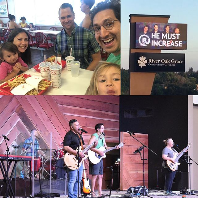8hrs of fun on the road, In N Out pit stop, reunited with our best bro @kennethcharlesembry and straight to rehearsal! We are so blessed and excited to be worshiping @riveroakgrace this whole weekend! Thank you Lord!!