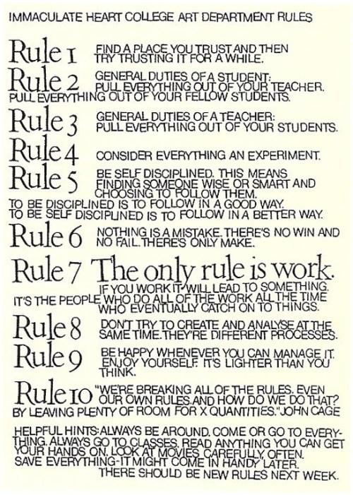 Corita Kent's Art Department Rules Courtesy of the Corita Art Center, Immaculate Heart Community, Los Angeles.,CA