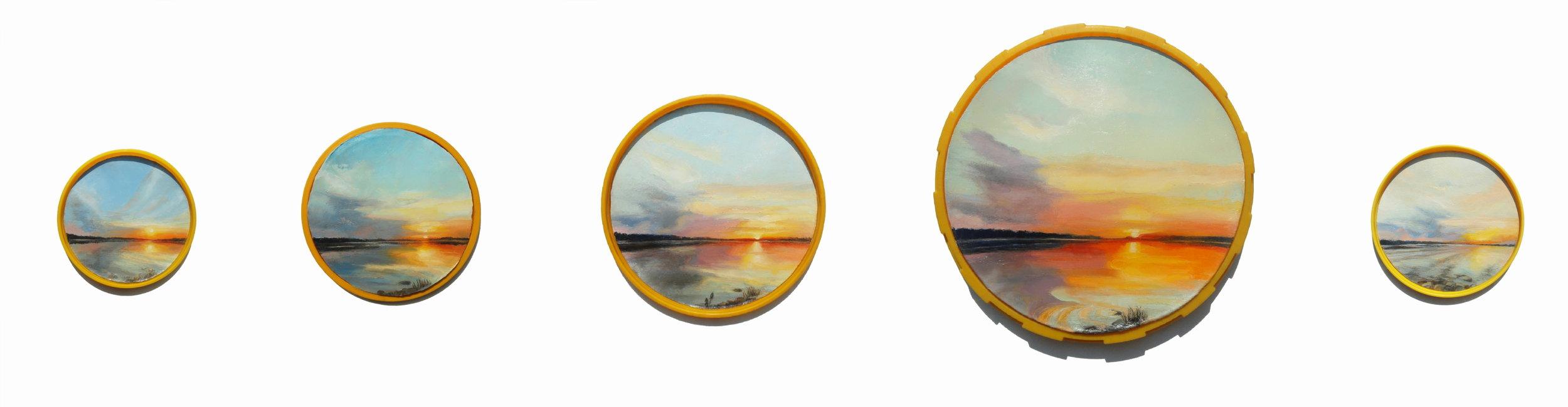 Inguna Gremzde, 33 Minutes Older, 13/15/19/28 cm in diameter; oil painting/ found plastic, 2016