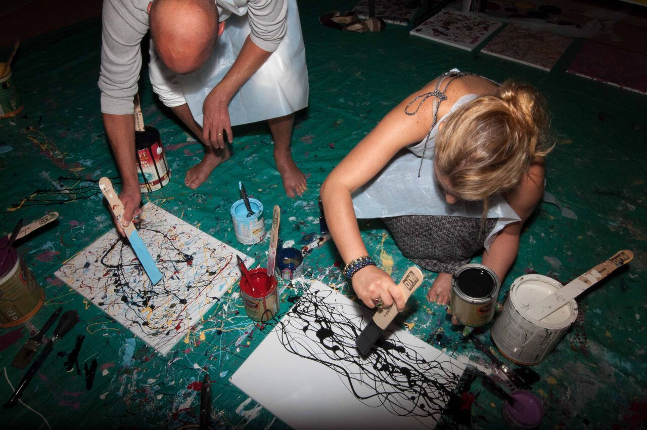 Pollock & Martinis Night at CMATO  included live jazz, beat poetry and making Pollocks to take home