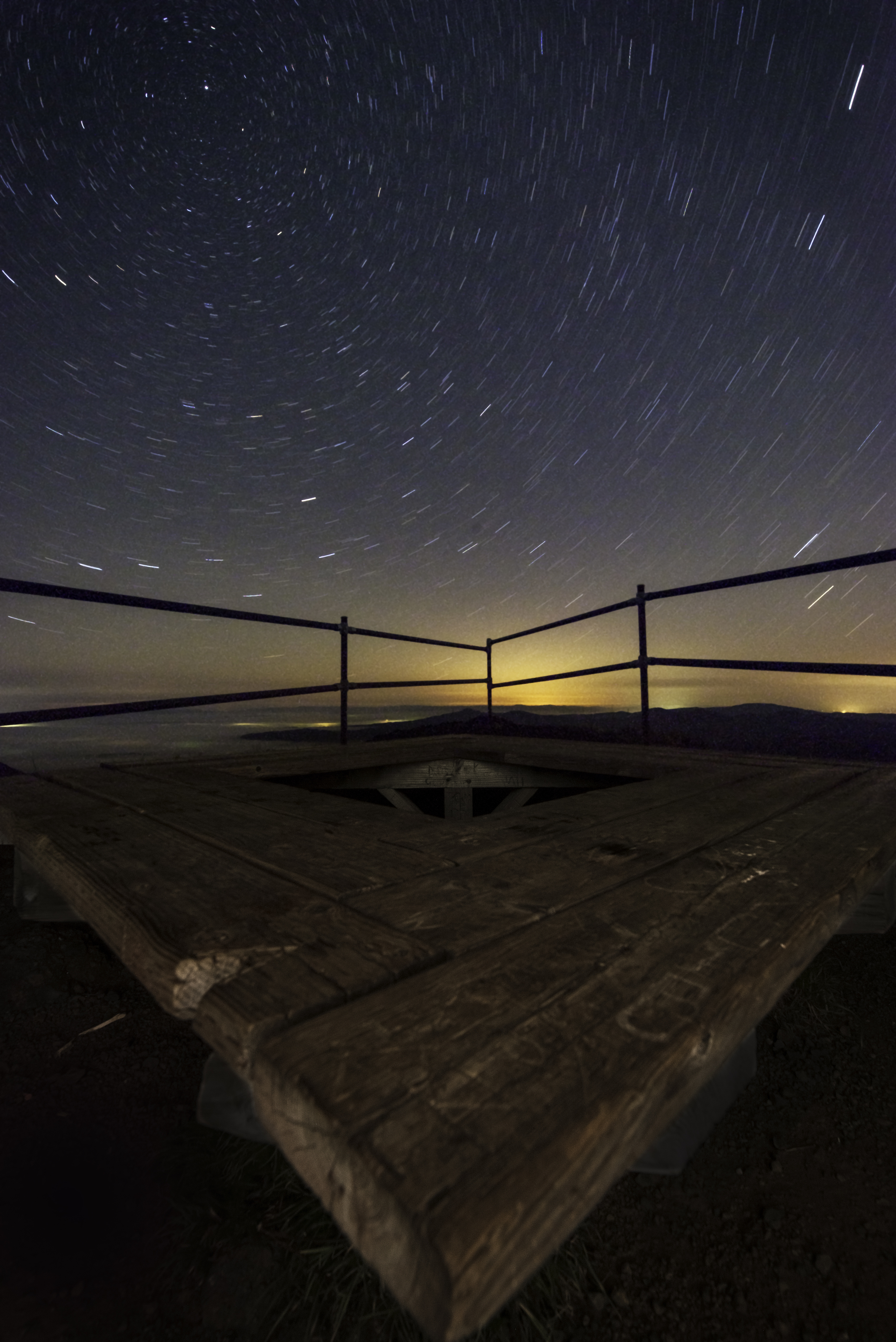 This wooden bench sits unloved under the magnificent stars