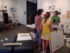 Jude Roberts with visitors