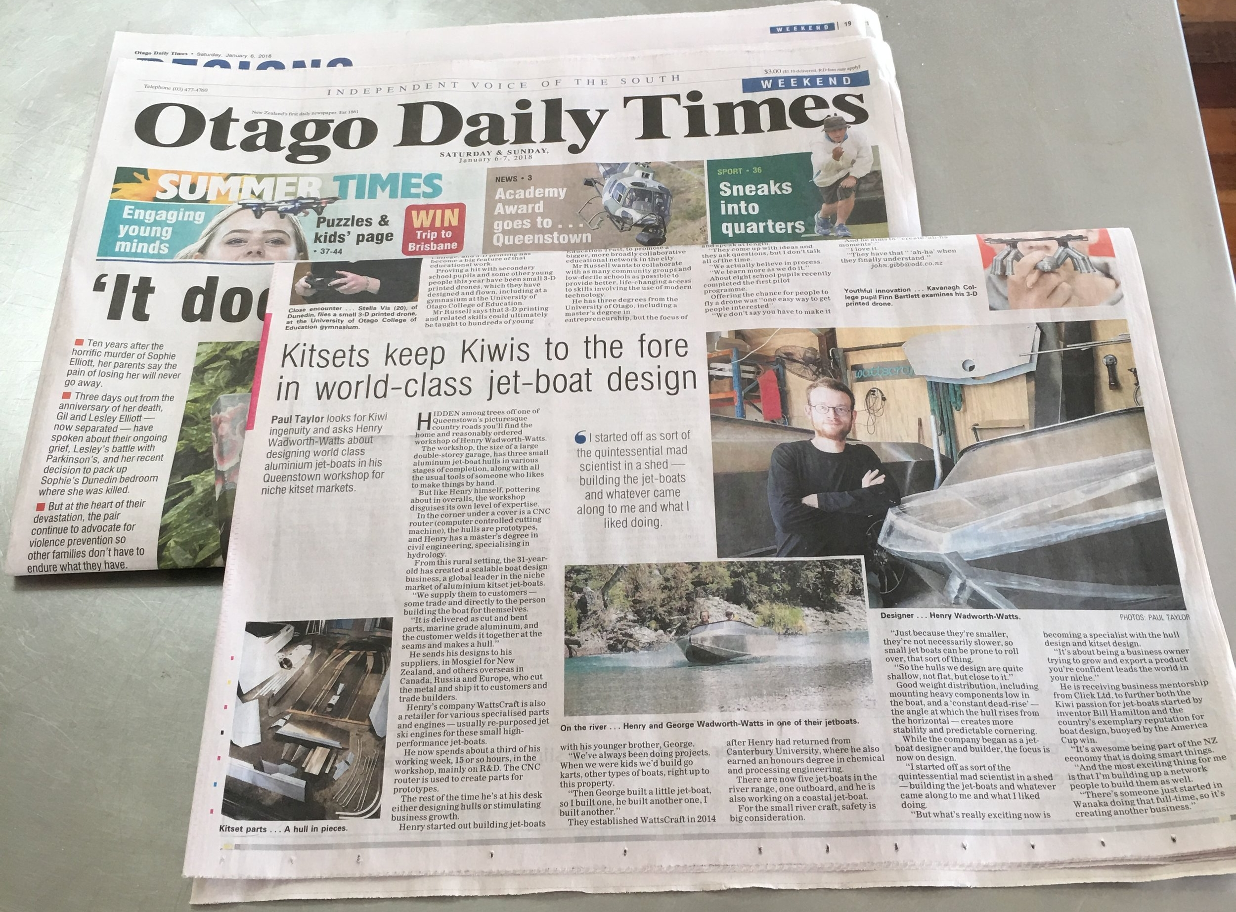 WattsCraft in the Otago Daily Times