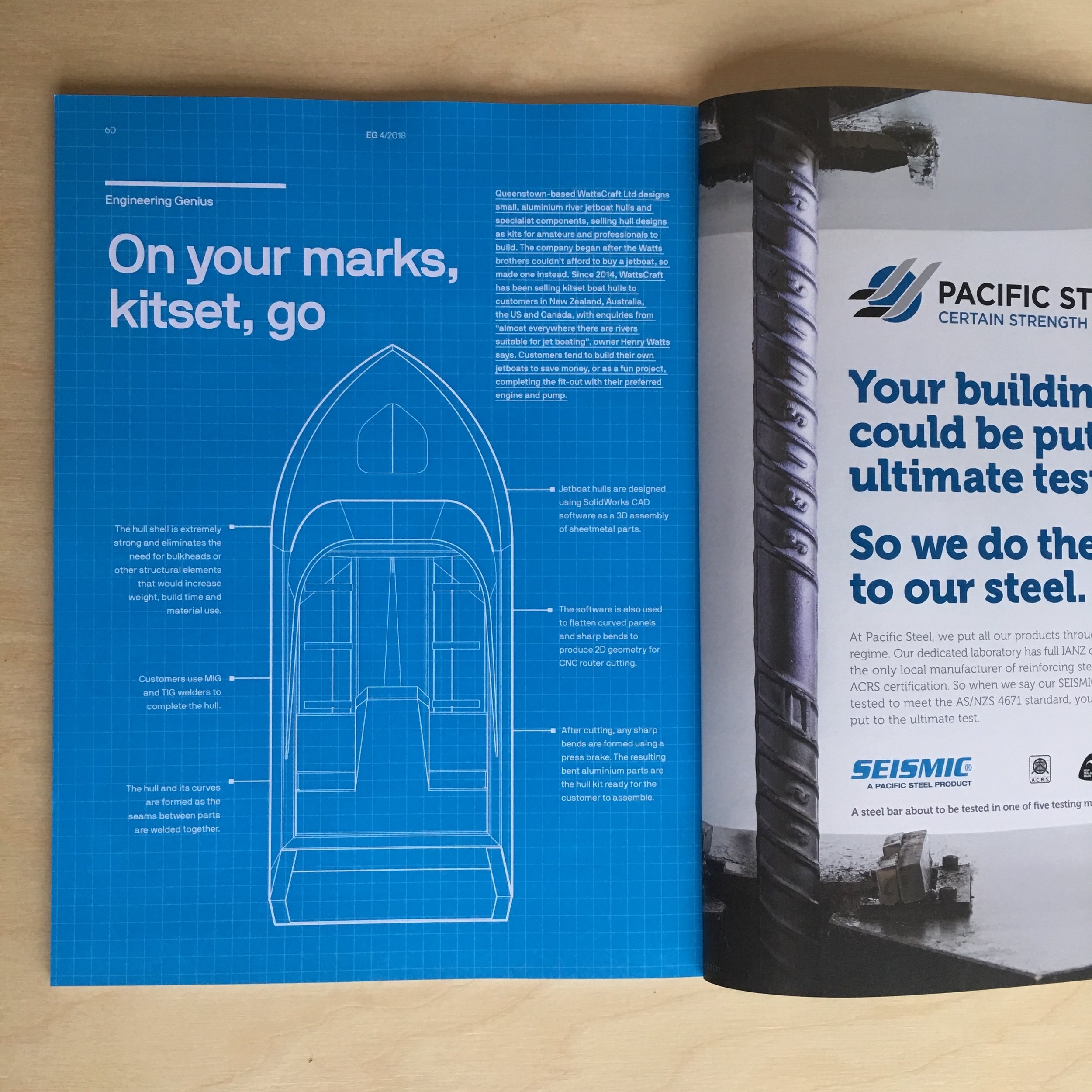 WattsCraft kit hulls features in Engineering NZ's EG Magazine