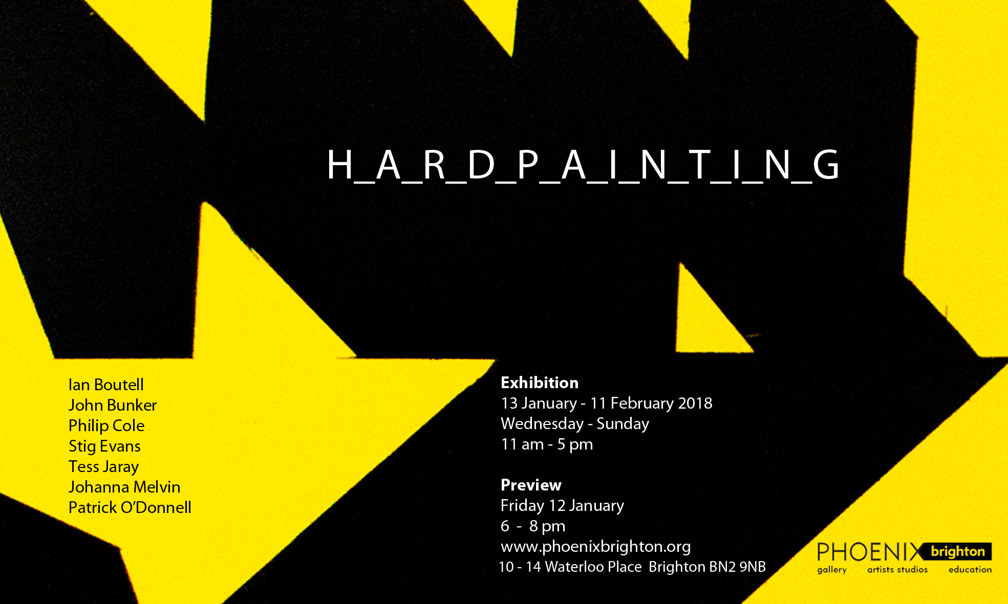 Exhibition flyer by Patrick O'Donnell (image detail from Neverending by Ian Boutell)
